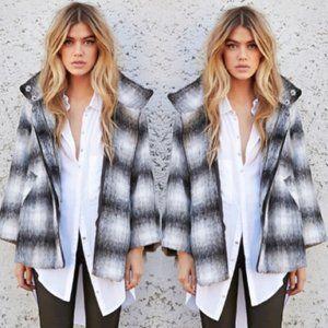Kensie Blurred Plaid Wool Jacket Sz S